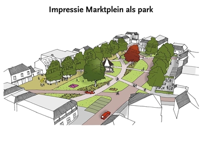 Marktplein scenario 'het plein als een park'